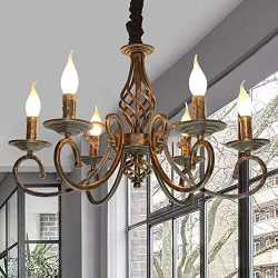 Ganeed Rustic Chandeliers,6 Lights Rustic French Country Chandelier,Metal in Antique Bronze Pend ...