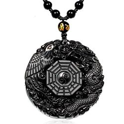MOHICO Dragon Obsidian Pendant Necklace, Dragon and Phoenix Natural Obsidian Crystal Pendant Nec ...