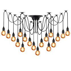 LAMPUNDIT 18-Light Chandelier, Adjustable DIY Ceiling Spider Pendant Lighting, Industrial Hangin ...