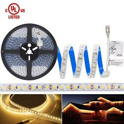 Waterproof Warm White LED Light Strip, Premium High Density 3528 – 16.4 Feet, 600 LEDs, 30 ...