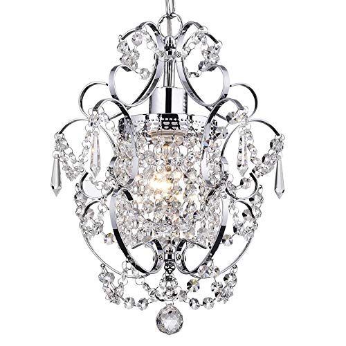 Riomasee Mini Chandelier Crystal Chandeliers Lighting 1-Light Modern Elegant Crystal Iron Ceilin ...