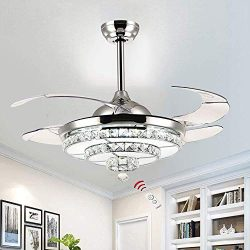 BIGBANBAN Retractable Crystal Ceiling Fan with Lights LED Dimmable Chandelier Fan with Remote Mu ...