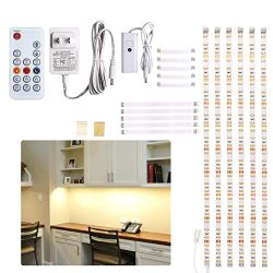 Under Counter Light, Dimmable LED Under Cabinet Lighting, 6 PCS LED Strip Light Bars with Remote ...
