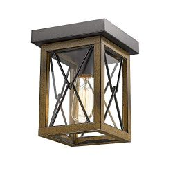 Emliviar 1-Light Farmhouse Ceiling Light Fixture, Square Flush Mount Ceiling Light, Wood Grain a ...
