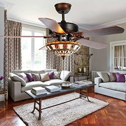 Andersonlight 52-Inch Ceiling Fan with Five Brazilian Cherry/Harvest Mahogany Blades and Tiffany ...