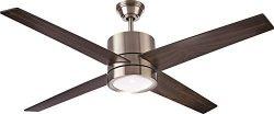 NOMA Ceiling Fan with Light | Reversible Maple or Distressed Walnut Blades | Dimmable with Remot ...