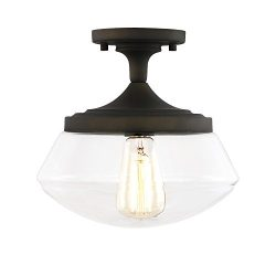 Light Society Crenshaw Flush Mount Ceiling Light, Oil Rubbed Bronze with Clear Glass Shade, Vint ...