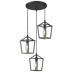 Emliviar 3-Light Cluster Pendant Lighting, Industrial Kitchen Island Light, Black Finish, 20065D ...