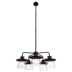 Globe Electric 60471 Nate 5-Light Chandelier, Oil Rubbed Bronze, Clear Glass Shades