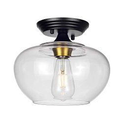 HMVPL Modern Close to Ceiling Light, Glass Semi Flush Mount Pendant Lighting Fixtures, Industria ...