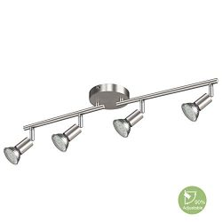 Creyer LED Track Lighting Matt Nickle, 4-Light Ceiling Spot Lighting, Flexibly Rotatable Light H ...