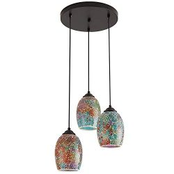 Modern Kitchen Island Lighting, Hand Crafted Mosaic Colored Glass Shade Hanging Ceiling Lights,3 ...