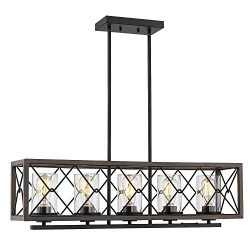 Zeyu 5-Light Kitchen Island Lighting, Farmhouse Pendant Lighting with Clear Glass, Wood and Blac ...