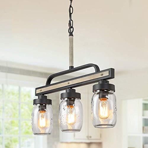 Log Barn Rustic Mason Jar Island Chandelier, 3 Lights Farmhouse Kitchen Pendant Light Fixture in ...