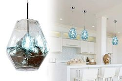 Modern Acrylic Island Pendant Lighting Fixtures Lava Diamond Shape Contemporary Mirror Hanging C ...