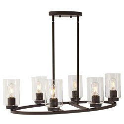 TULUCE 6-Light Chandelier Lighting Oil Rubbed Bronze Finish with Clear Glass Shade Vintage Oval  ...