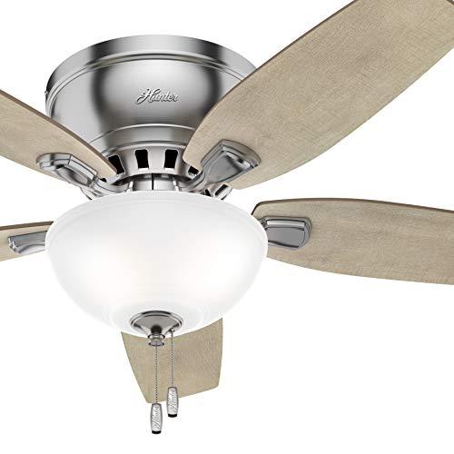 Hunter Fan 46 inch Low Profile Brushed Nickel Indoor Ceiling Fan with Light Kit (Renewed)
