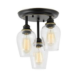 Ceiling Lights Fixtures, HMVPL Semi Flush Mount Kitchen Close to Ceiling Lamp, Farmhouse Edison  ...
