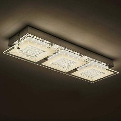 LED Ceiling Light Fixture With 3-Light,Minimalist Glass Flush Mount Lamp Auffel Morden Dimmable  ...
