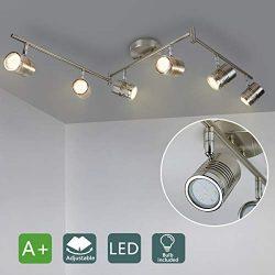 DLLT 6-Light Track Lighting Fixtures Swing Arm, Kitchen Ceiling Spot Light, Flush-Mount Foldable ...