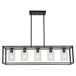 VINLUZ Contemporary Modern Chandeliers Rectangle Black 5 Light Dining Room Lighting Fixtures Han ...