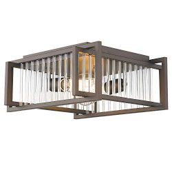 Zeyu Flush Mount Ceiling Light, 2-Light Farmhouse Close to Ceiling Light Fixture 11 Inch, Oil Ru ...