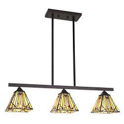 VINLUZ 3 Lights Kitchen Island Chandeliers Lighting Modern Tiffany Style 6-inch Stained Glass Sh ...