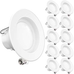 Sunco Lighting 10 Pack 4 Inch LED Recessed Downlight, Smooth Trim, Dimmable, 11W=40W, 2700K Soft ...