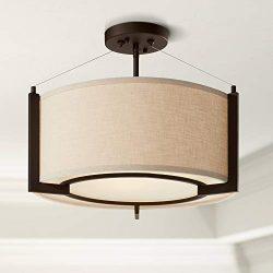 Stinson Modern Ceiling Light Semi Flush Mount Fixture Bronze 17 1/4″ Wide Linen Drum Shade ...