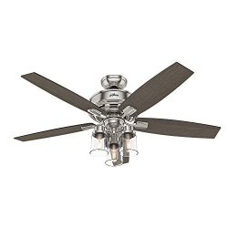 Hunter Indoor Ceiling Fan, with remote control – Bennett 52 inch, Brushed Nickel, 54190