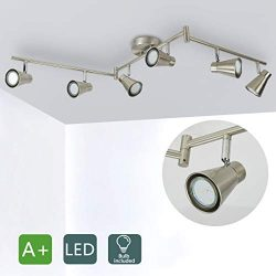 DLLT 6-Light Flexible Track Lighting Rail, Modern Directional Led Spot Ceiling Light Fixture Flu ...