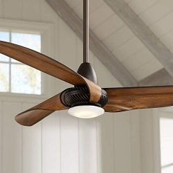 56″ Sleuth Modern Ceiling Fan with Light LED Dimmable Oil Rubbed Bronze Frosted Glass for  ...