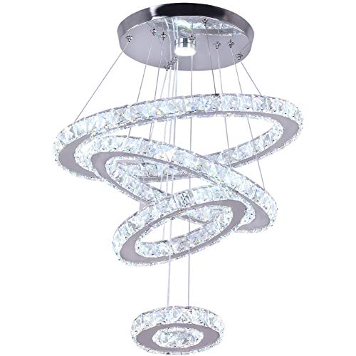 Dixun Crystal Chandeliers Modern LED 4 Rings Pendant Light Adjustable Stainless Steel Ceiling Li ...