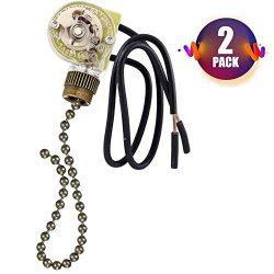 Ceiling Fan Switch Pull Chain Switch 3 Speed Fan Light Switch,2 PACK Zing Ear ZE-109 ON-OFF Pull ...