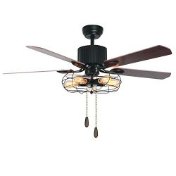 Tropicalfan Vintage Cage Ceiling Fan With Lights Remote Control Indoor Living Room Study Industr ...