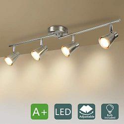 DLLT 4-Light Led Track Lighting Kit, Flush Mount Spotlight Ceiling, Directional Ceiling Light fo ...