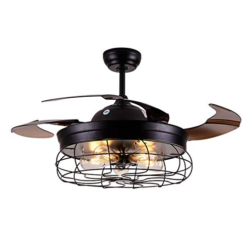 Ceiling Fan with Light 42 Inch Industrial Ceiling Fan Retractable Blades Vintage Cage Chandelier ...