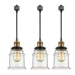 Kiven 3-Light H System Track Lighting Pendants,Clear Glass Shade Fitting Track Light Kit, TB0213 ...