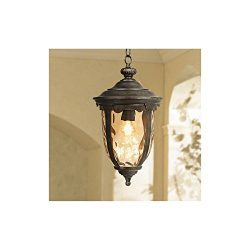 Bellagio Rustic Outdoor Ceiling Light Bronze 18″ Hammered Glass for Exterior Entryway Porc ...