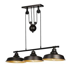 Hykolity 3-Light Pulley Pendant Light, Oil Rubbed Bronze Adjustable Kitchen Island Lighting (LED ...