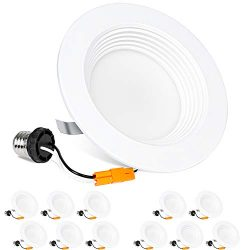 Hykolity 12 Pack 4 Inch LED Recessed Downlight Dimmable, Baffle Trim, CRI90, 9W=65W, 600lm, 4000 ...