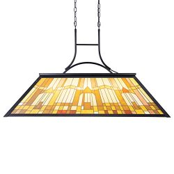 Wellmet 3-Light Billiard Light with Tiffany-Style Printed Shade, Pool Table Light Suitable for G ...