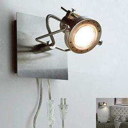 DLLT Led Ceiling Spotlight, Adjustable Wall Mount Lamp, Plug-in Track Light Kit Lighting for Bed ...