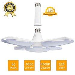 LED Garage Light 60W E26 6000LM Deformable LED Garage Ceiling Lights 6500K Daylight White with 4 ...