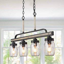 LOG BARN Rustic Mason Jar Pendant Lighting for Kitchen, 4 Lights Farmhouse Chandelier in Distres ...