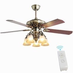 Indoor Ceiling Fan Light Fixtures – FINXIN New Bronze Remote LED 52 Ceiling Fans For Bedro ...
