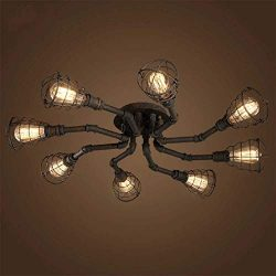 8 Lights Industrial Cage Pipe Ceiling Light-LITFAD Retro Rustic Iron Vintage Hanging Pendant Lig ...