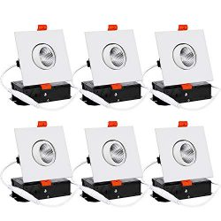 TORCHSTAR 6-Pack 3 Inch Gimbal LED Square Dimmable Recessed Light with J-Box, 7W (50W Eqv.) 500l ...
