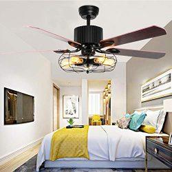 Retro Industrial Ceiling Fan Light 52 Inch 5-Lights E27 Fixture for Restaurant/Living Room/Bedro ...