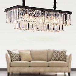 Meelighting L39.4″ W10.2″ Rectangle Modern Crystal Chandeliers Lighting Pendant Ceil ...